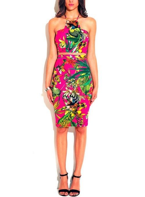 Sexy pink multicolor floral 2 peice only 1 sz s 1sz m fun clubwear bodycon dress
