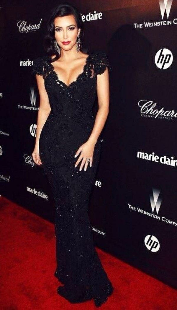 dress black lace kim kardashian kim kardashian dress kim kardashian's black dress