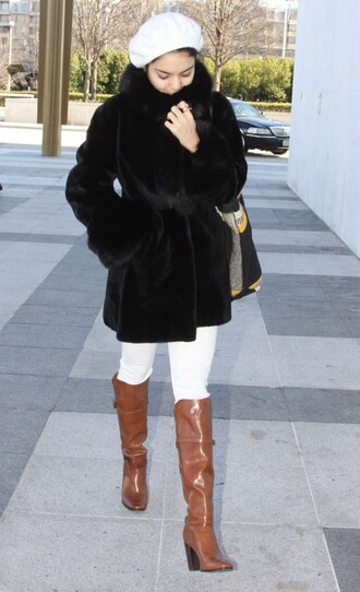 vanessa hudgens beret winter outfits fur coat black coat brown leather boots shoes