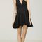 Pleated deep v- neck ponte skater dress