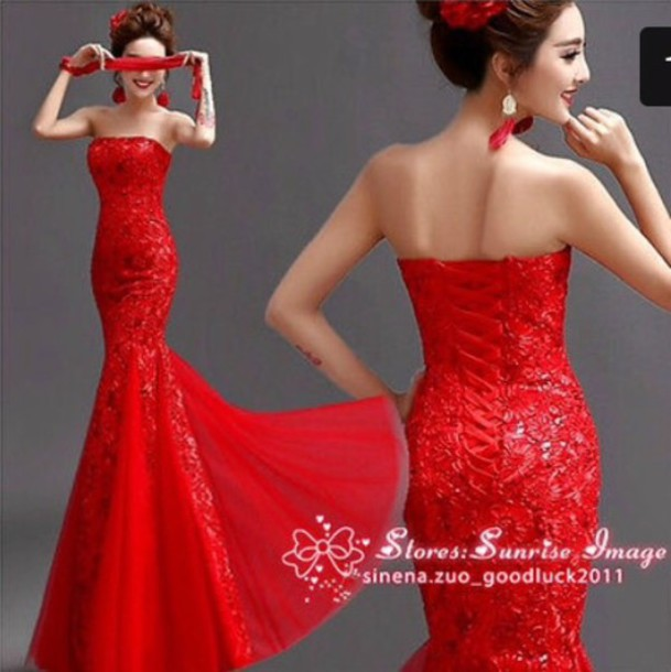 dress red mermaid prom dress