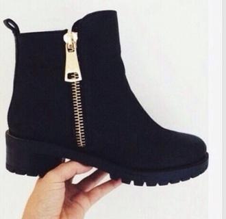 shoes gold zipper black boots
