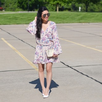 morepiecesofme blogger sunglasses jewels bag romper shoes clutch high heel pumps white heels long sleeve romper spring outfits wrap dress floral wrap dress