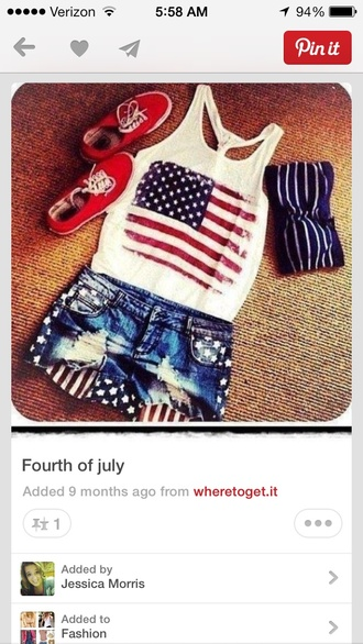 shoes red shorts tank top swimwear denim shorts ripped american flag