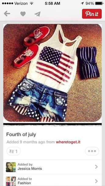 shoes red shorts tank top swimwear denim shorts ripped american flag fourth o july jeans tanktop. shirt