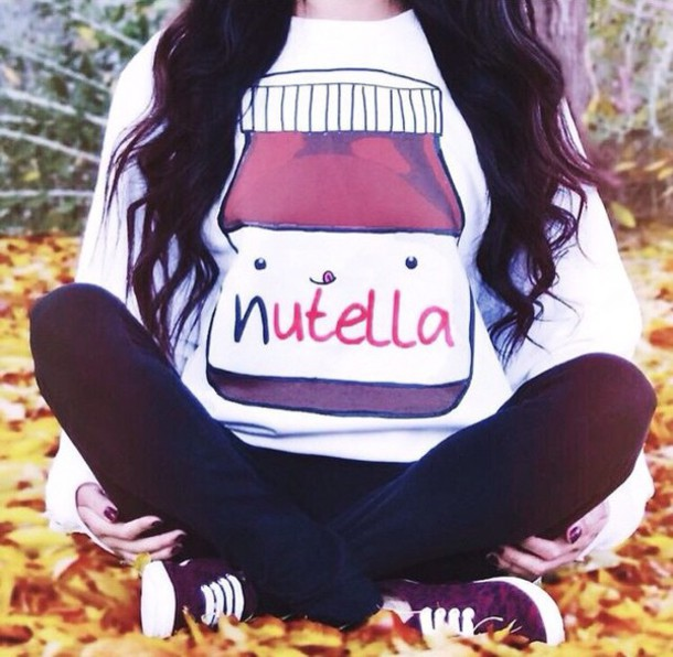 sweater nutella white sweater food