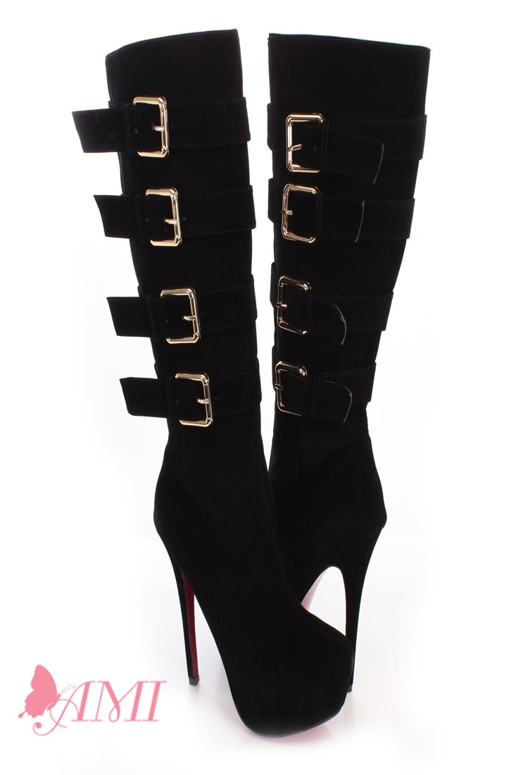 Black Faux Suede Knee High Platform Boots @ Amiclubwear Boots Catalog:women's winter boots,leather thigh high boots,black platform knee high boots,over the knee boots,Go Go boots,cowgirl boots,gladiator boots,womens dress boots,skirt boots,pink boots,fash