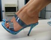 shoes,clear mules,clear heels,blue plastic