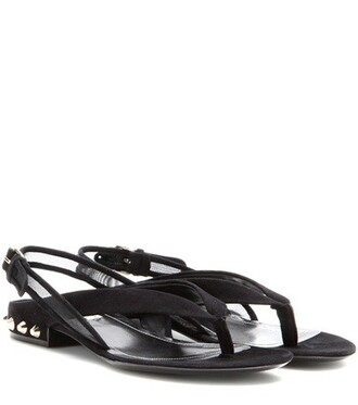 studded classic sandals suede black shoes