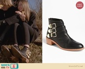 shoes,leather boots,gold buckled black boots,pointed toe,ahs coven