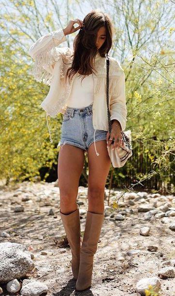 shoes boots rocky barnes denim shorts top instagram festival jacket blogger style blogger spring outfits shorts denim