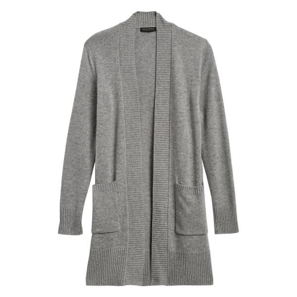 Banana Republic Women's Cashmere Long Cardigan Sweater Light Gray Regular Size S
