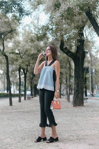 top black pants tumblr blue top stripes striped top pants shoes mules bag sunglasses