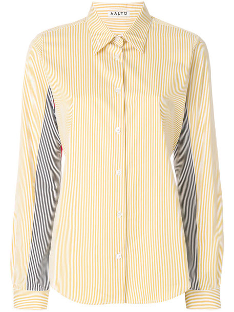 Aalto - striped patchwork shirt - women - Cotton - 40, Yellow/Orange, Cotton