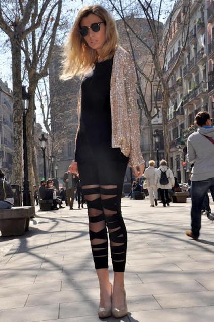 Tie Up Design Mesh Skinny Leggings - OASAP.com