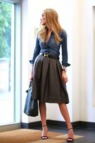 skirt skirt blouse jeans dress high heels pleated skirt denim shirt hermes belt leather skirt midi skirt blonde hair desperate for this career office outfits office wear shirt