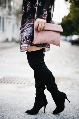 shoes tumblr boots black boots high heels boots over the knee boots bag pink bag mini dress