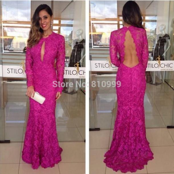 long sleeve dress, lace dress, evening dress, mermaid evening dress ...