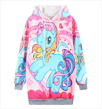 sweater cute kawaii fall outfits winter outfits cartoon pink blue my little pony colorful hoodie long sleeves teenagers