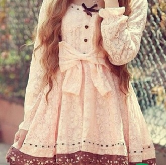 dress girly fall outfits bow peach dress cute long sleeves lace dress