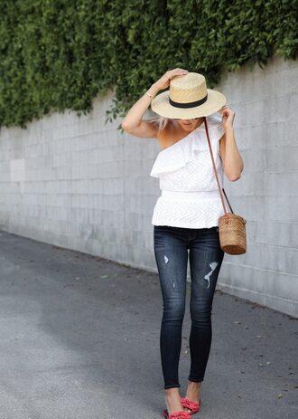 top tumblr asymmetrical one shoulder white top hat straw hat sun hat jeans denim blue jeans skinny jeans bag shoes