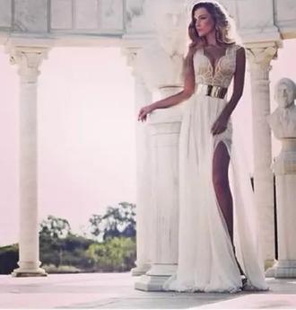 dress white dress gold elegant