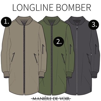 jacket maniere de voir longline bomber charcoal beige khaki