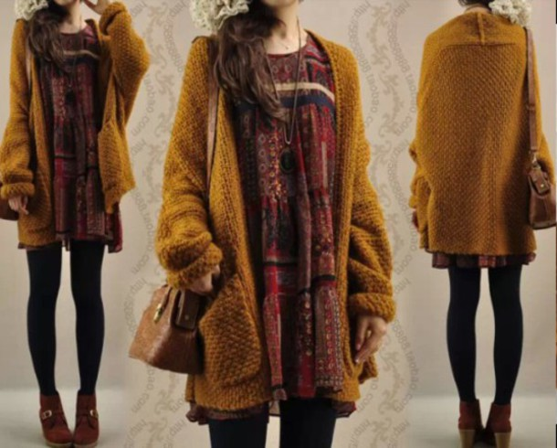 Cardigan: sweater, mustard cardigan, mustard, baggy, oversized ...