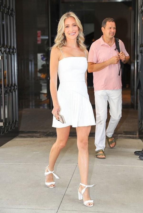 dress kristin cavallari mini dress shoes sandals heels sandal heels white dress white summer summer outfits summer dress earrings