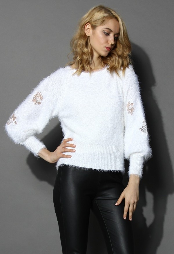 chicwish white sweater sweater