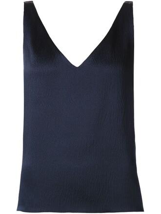 sleeveless blue top