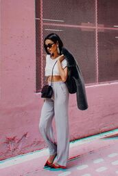 pants,crop tops,cropped,celebrity,wide-leg pants,shay mitchell,instagram