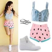 becky g,shorts,watermelon shorts,shirt,shoes,romper