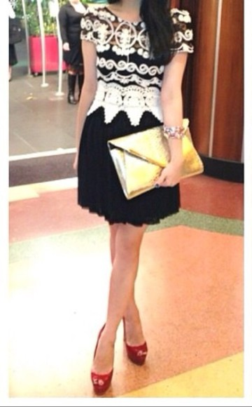 dress clothing lace dress blackandgold