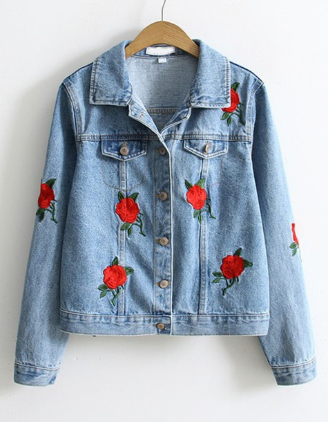 jacket denim jacket denim floral