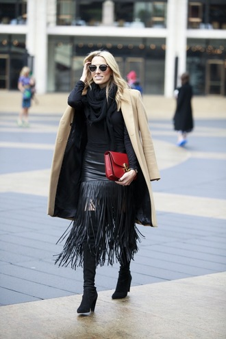 mind body swag blogger scarf fringe skirt red bag fringes camel coat thigh high boots black skirt