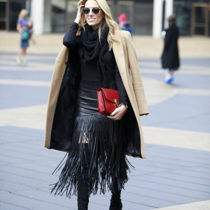 scarf black skirt blogger red bag camel coat mind body swag fringe skirt fringes thigh high boots scarf red