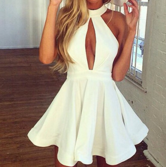 white dress white clothes blogger blonde hair dress short dress short white dress marilyn monroe skater skater dress sexy dress short bodycon dress party dress party outfits prom dress summer dress summer outfits high neck cut-out dress flowy streetwear streetstyle evening dress gown