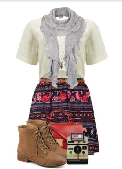 skirt aztec print skirt red vintage boots scarf white crop tops bag spring fashion
