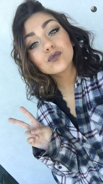 shirt flannel plaid tumblr grunge flannel shirt andrea russett plaid shirt blue shirt wavy hair fall outfits winter outfits cozy lazy day