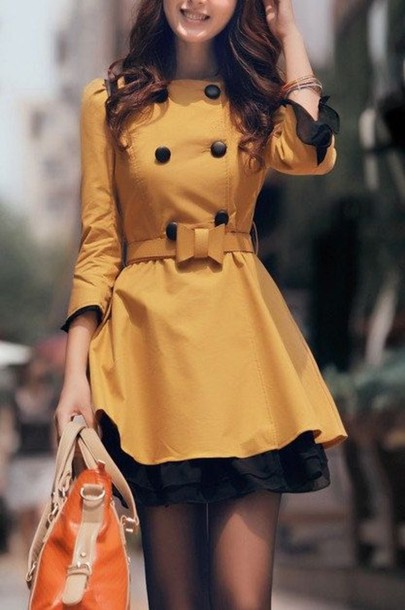 coat yellow dress