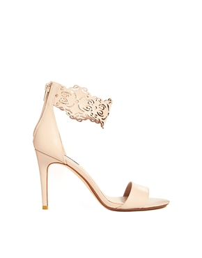 Dune   Dune Hilaze Nude Leather Ankle Cuff Heeled Sandals at ASOS