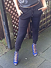 shoes,royal blue,laced heels,joggers,high heels,pants,london rebel