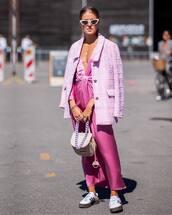 jacket,blazer,pink blazer,silk dress,midi dress,plunge v neck,handbag,white sunglasses,sneakers