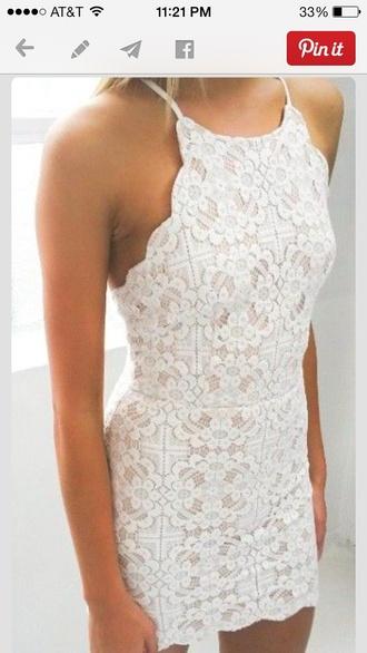 dress white dress lace dress white spaghetti strap short dress