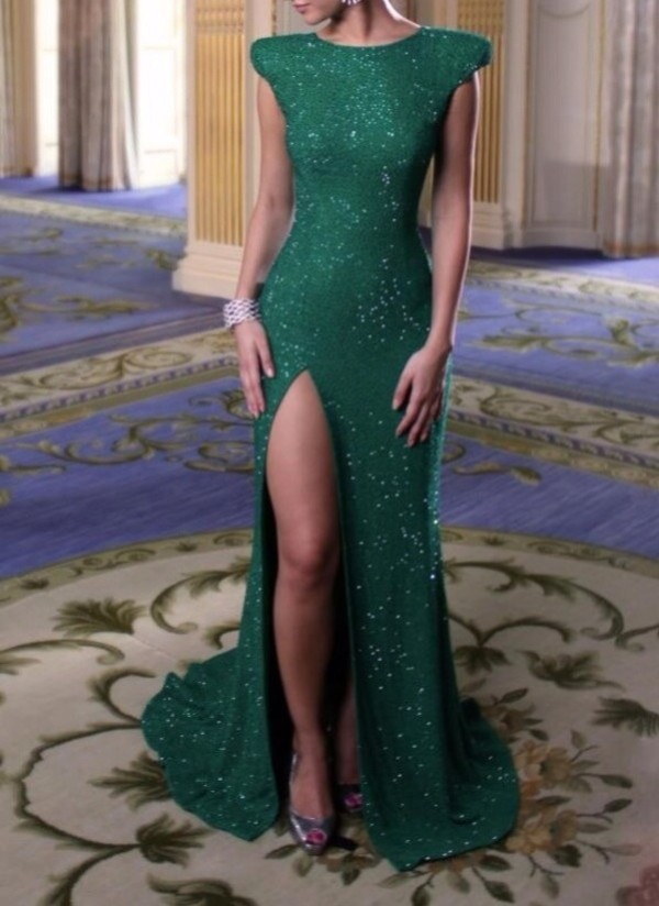 dress long prom dress green prom dress fancy green dress slit dress prom dress prom formal dress gown emerald green