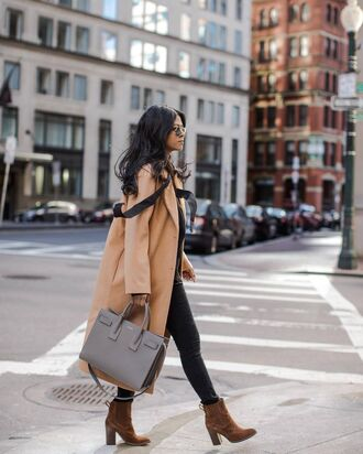 coat tumblr camel camel coat bag grey bag handbag jeans black jeans skinny jeans boots ankle boots suede suede boots brown boots high heels boots sunglasses winter outfits