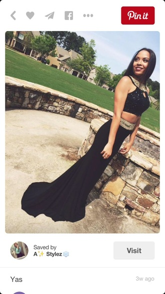 dress prom prom dress sequin dress black gold two-piece