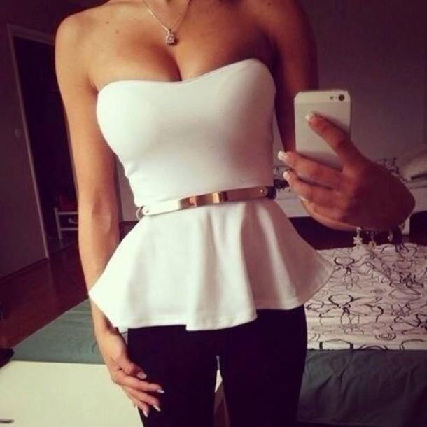 shirt belt tube top tank top black brand party tops dressy shirt