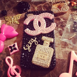 phone cover iphone 5 case jewels bling chanel sexy pink silver iphone case iphone cover perfume chanel no.5 cute pretty dope rhinestones plastic black gold lovely